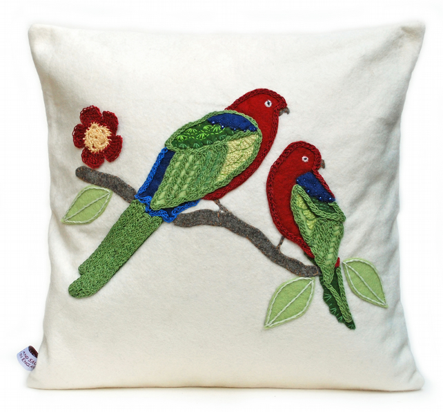 Parrot design wool felt cushion