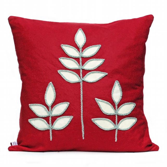SALE: Red wool felt leaf cushion