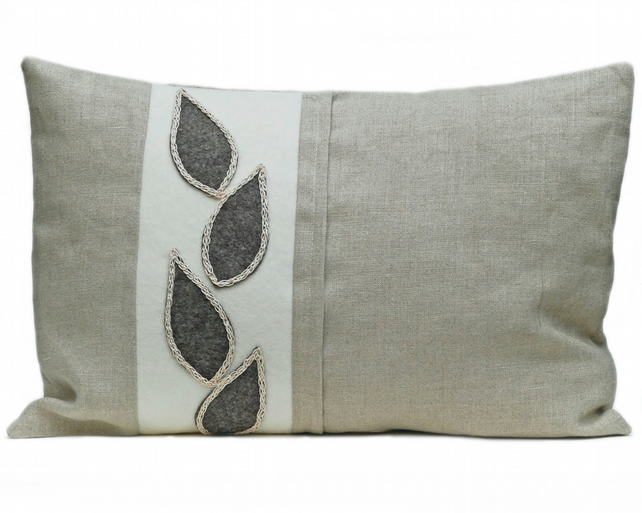 Linen and wool cushion with leaf design