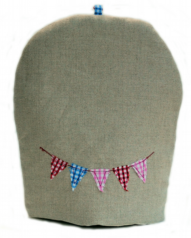 SALE: Bunting design linen coffee cosy
