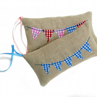 SALE: Linen lavender bag with bunting design