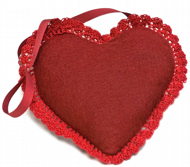 Red wool felt lavender heart