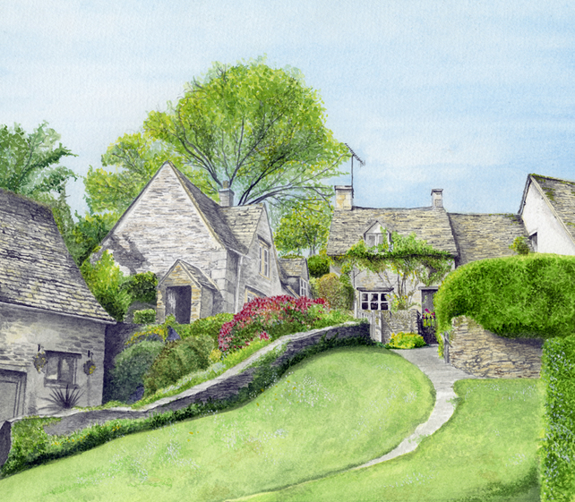 Cotswold scene greetings card
