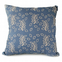 Blue leaves sofa cushion