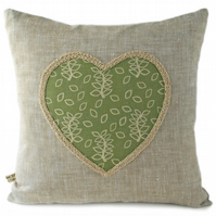 Green leaves heart detail cushion
