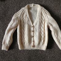 Hand Knitted Aran Cardigan