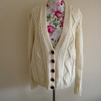 Ladies Hand Knitted Aran Cardigan