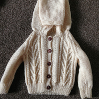 Hand Knitted Hooded Aran Knit Cardigan