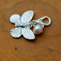 Clip on charm - Butterfly with Peach Freshwater Pearl drop detail