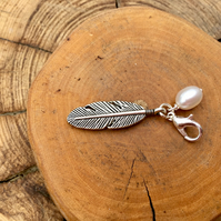 Clip on charm - Feather with Cream Freshwater Pearl drop