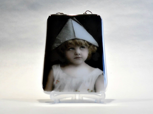 Little Party Girl - Fused Glass - Vintage Image - Wall Plaque - Scotland
