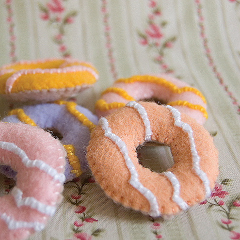 Party Rings Set of 5 Recycled Felt Food Sculptures