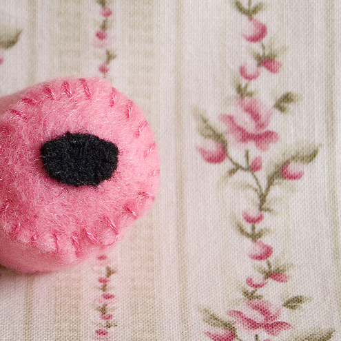 Pick'n'Mix...The Pink Liquorice Allsort Recycled Felt Badge or Pin