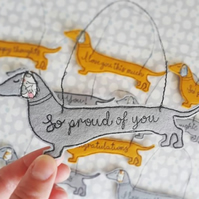 Sausage dog mini wall hanging with message of positivity