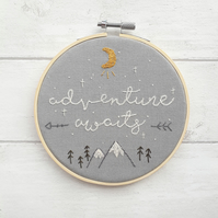 "Adventure Awaits - 6.5"" embroidered wall art"