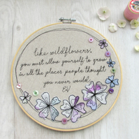 Wildflowers embroidered quote wall art