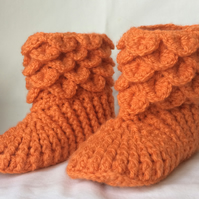 Crochet Girls Slipper Boots Orange UK Child Size 4-6