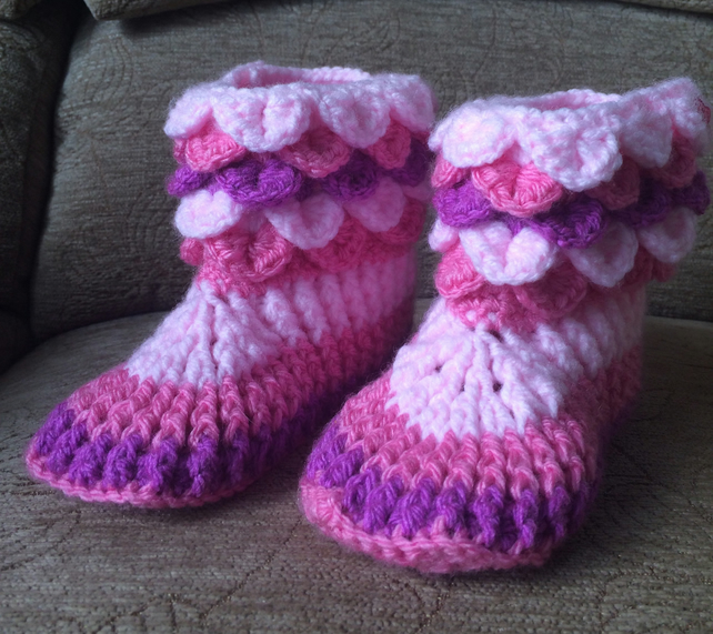 Girls Crochet Slipper Boots Pink Size 13