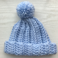 Baby Boy Crochet Bobble Pom Pom Hat Blue