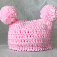 Newborn Baby Girl Crochet Double Pom Pom Hat Pink