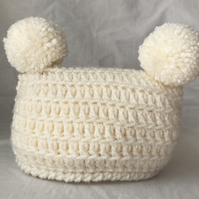 Newborn Baby Crochet Double Pom Pom Hat Cream Colour