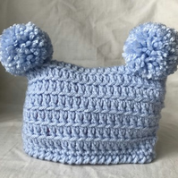 Blue Baby Crochet Double Pom Pom Hat Newborn