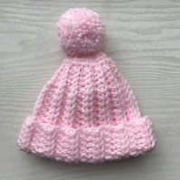 Baby Girl Crochet Bobble Pom Pom  Hat Pink