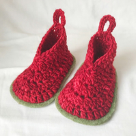 Crochet Baby Booties Red Size 0-6 Months