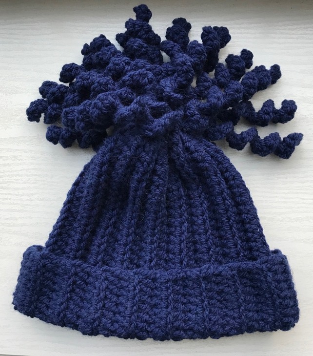 Crochet Children's Beanie Hat Navy Blue Age 5-10 Years