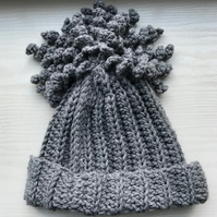 Crochet Children's Beanie Hat Grey Age 5-10 Years