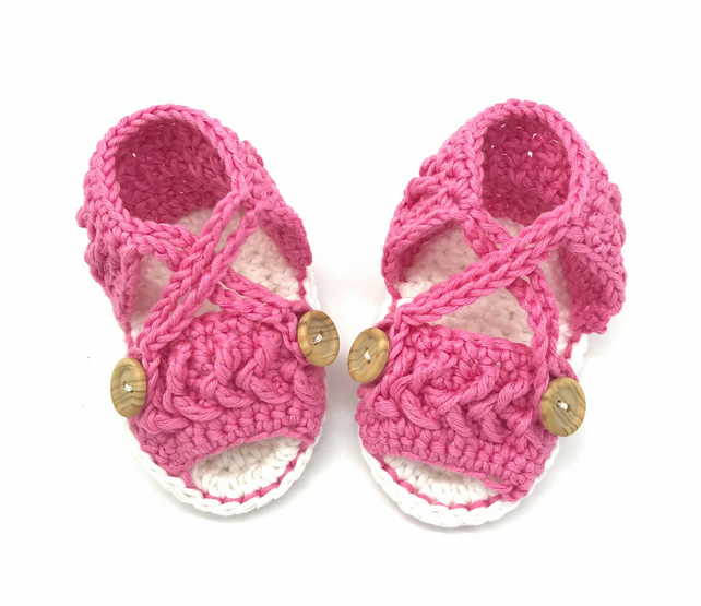 buy popular special discount shop for genuine Crochet Baby Sandals, Baby Girl Sandals, Pink Baby Sandals, Crochet Baby  Shoes