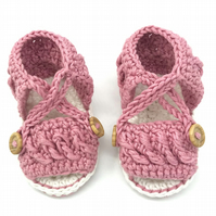 Crochet Baby Girl Sandals, Pink Baby Sandals, Baby Sandals 0-6 Months