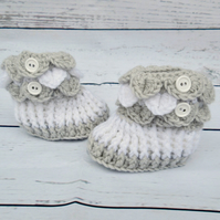 Grey and White Baby Booties - Crochet Baby Shoes