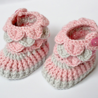 Crochet Baby Booties - Pink & Grey Baby Shoes Size 0-6 Months