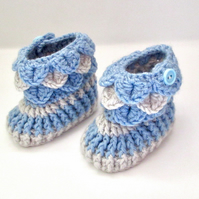 Blue Grey Baby Booties - Crochet Baby Shoes