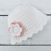 Crochet Baby Girl Hat - White Baby Hat