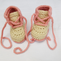 Crochet Baby Booties - Baby Girl Shoes - 0-3 Months, 3-6 Months