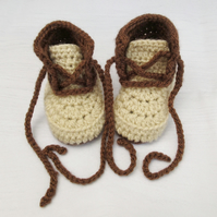 Crochet Baby Booties - Gender Neutral Baby Shoes - 0-3 Months, 3-6 Months