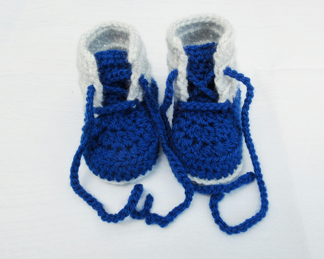 Crochet Baby Booties - Lace-Up Baby Boots Size 6-12  Months, 12-18 Months