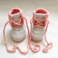 Crochet Pink and Grey Baby Booties - Baby Girl Shoes.