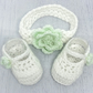 Crochet Newborn Baby Girl Shoes And Headband Set