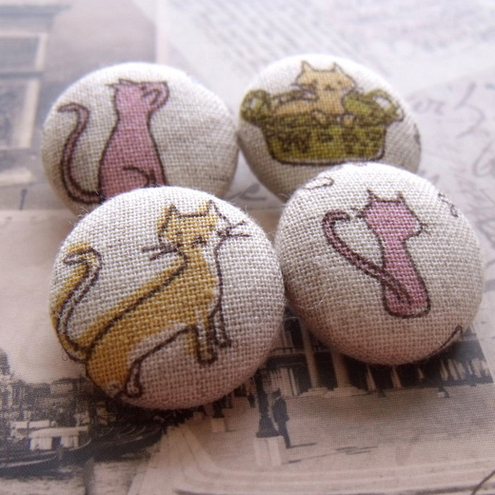 Fabric Buttons For Crafting, Sewing And Knitting, The Cats Of Paris Ones
