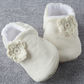Ivory cord baby shoe with crochet flower, pre walkers and toddlers