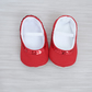 Baby ballet shoes, red ballet shoes, baby girls shoe, red baby girls shoe.