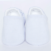 Baby blue and white striped shoes, gift for baby shower. baby shoes.