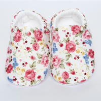 Bright summer floral baby girls shoes, soft baby shoes, baby shower gift ideas.