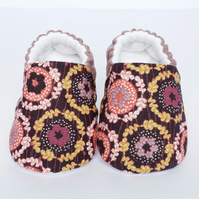 Lilac and pink floral baby shoes, linen and cotton with anti slip soles