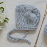 Blue Hand knitted baby bonnet. Boys hat, Girls hat. Traditional baby bonnet.
