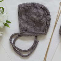 Grey Hand knitted baby bonnet. Boys hat, Girls hat. Traditional baby bonnet.