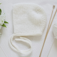 Ivory hand knitted baby bonnet, winter hat. winter christening.